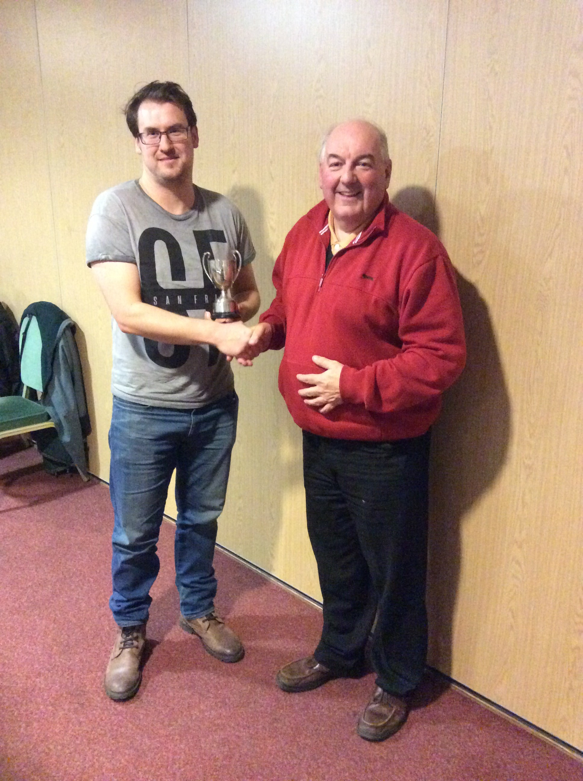 Umpires Cup 2015 - Performance of the Year - Chris Prophet - received his award from the Club Chairman for a fine (and nearly match winning) 98 v. Bablake Old Boys in a Warwickshire Cricket League Premier Division match.