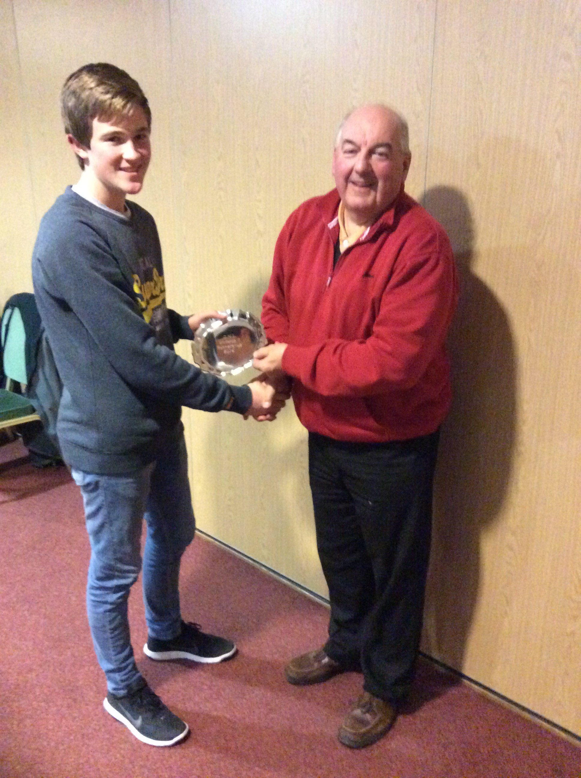 The Colts Cup winner (Young Player of the Year) - Jono Sparks  - who received his award from the Club Chairman