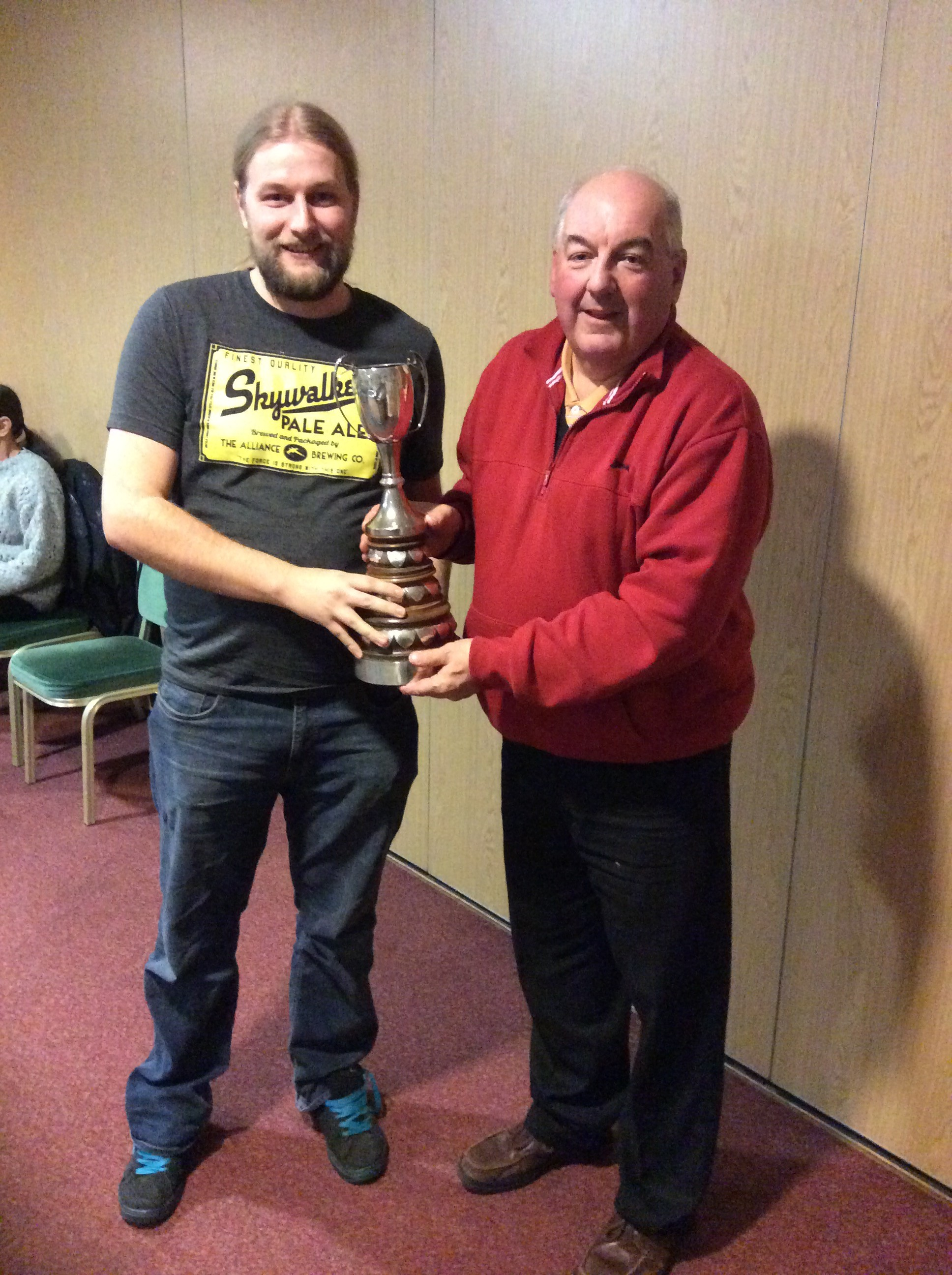 Pratt Cup winner for the Most Improved Player at the Club - Sam Leach receiving the prestigious award from the Club Chairman.