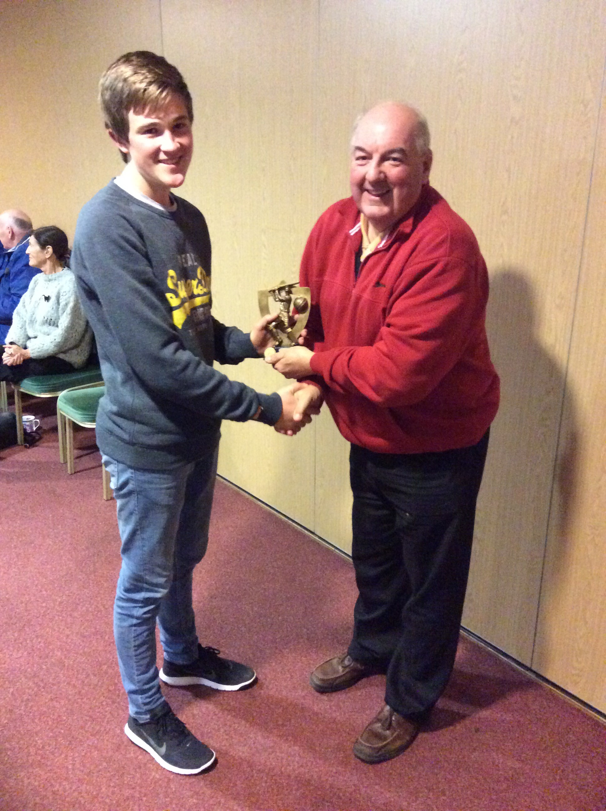 2015 2nd XI Player of the Year - Jono Sparks receives his award from the Club Chairman